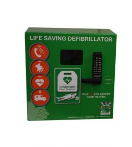 Defib Store 1000 STAINLESS STEEL Cabinet with Heater and Keypad Lock - Green