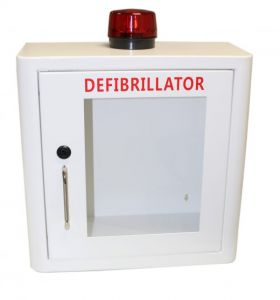 Indoor White Defibrillator Cabinet with Strobe Light & Alarm  - Locked