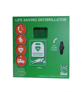 Defib Store 1000 Mild Steel Cabinet Unlocked With Heater and LED Light - Green