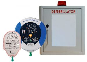 Indoor White Cabinet  Heartsine 350P & 1 set Heartsine Paediatric-Pad-Pak