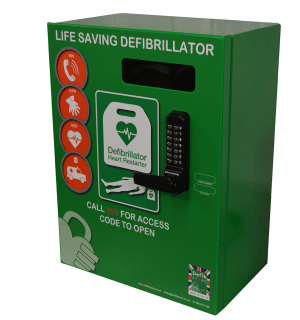 Defib Store 3000 Stainless Steel Green Cabinet with Keypad Lock, Heater and LED Light