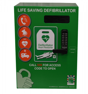 Defib Store 2000 Mild Steel Green Cabinet with Keypad Lock, Heater and LED  Light
