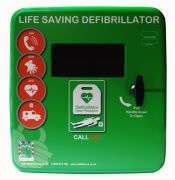 Defibstore 4000 Green Polycarbonate Defibrillator Cabinet Unlocked with Heater and LED Light