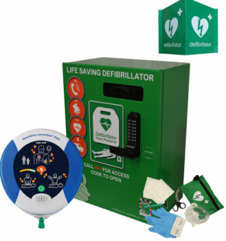 Heartsine 500P and Green Defib Store 2000 with keypad lock