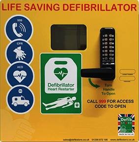 Defib Store 1000 STAINLESS STEEL Cabinet with Keypad Lock, Heater and LED Light