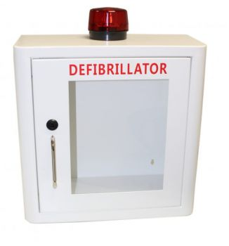 Indoor White Defibrillator Cabinet with Strobe Light & Alarm  - Unlocked