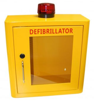 Indoor Yellow Defib Store with Strobe Light & Alarm - Locked