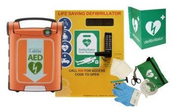 Powerheart G5 and Defib Store 2000 cabinet with keypad lock
